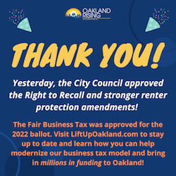 WIN! City Council approves Right to Recall for workers and stronger renter protection amendments! Council also approves equitable business tax for 2022 ballot!