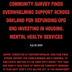 Community Survey Finds Overwhelming Support Across Oakland for Defunding OPD and Investing in Housing, Mental Health Services