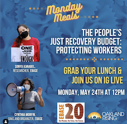 5/24 Monday Meals: People's Just Recovery Budget – Worker Protections